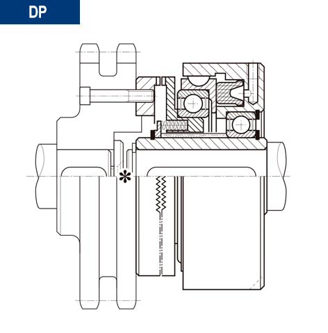 Esquema sección de ejemplo de montaje de montaje acoplamiento neumatico dientes directo DP