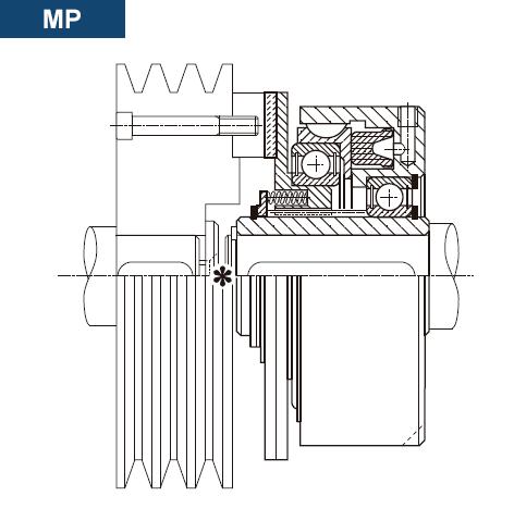 Esquema y sección del Embrague Neumático Multidisco Directo MP
