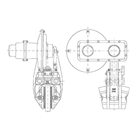 Vista de alzado y perfil de un freno eléctrico de disco EGMX