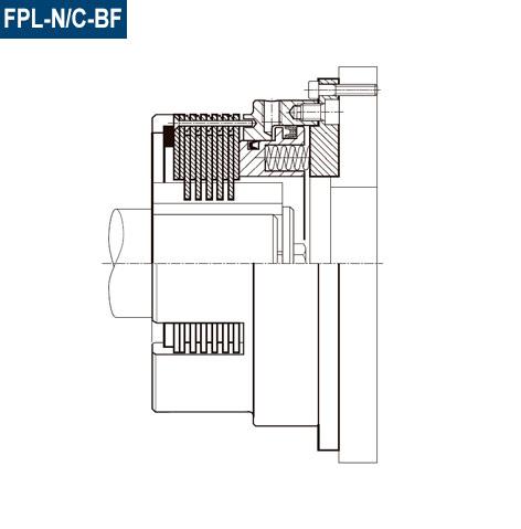 Vista de sección del freno Negativo FPL-N/C-BF