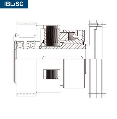 Esquema sección de un freno hidráulico multidisco directo IBL-SC montado