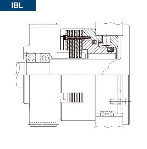 Esquema de sección del montaje del Vista Montaje Freno Hidráulico Multidisco Directo IBL